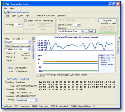 Screen Shot of the PMU Connection Tester